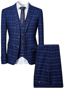 Men 3 Piece Slim fit Checked Suit