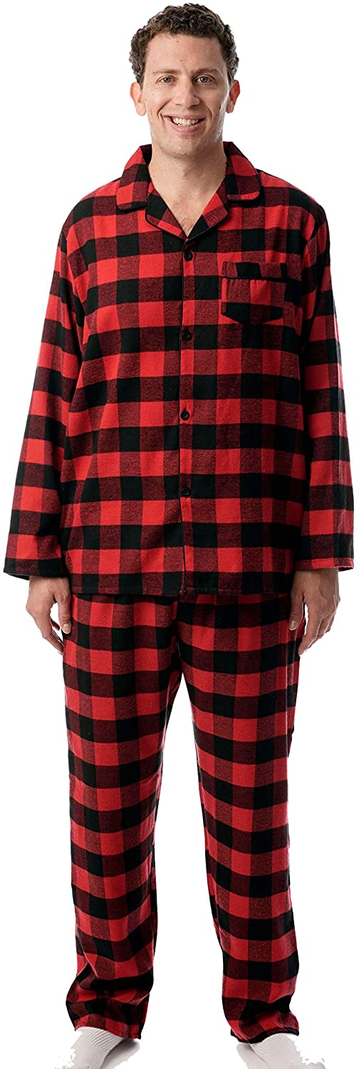 Men Plaid Button Front Flannel Pajamas Set