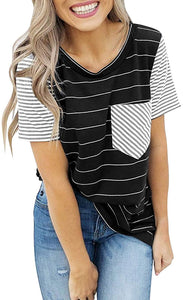 Women Striped Color Block Short Tops