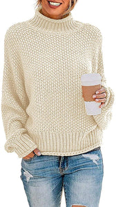 Women Turtleneck Batwing Sleeve Jumper