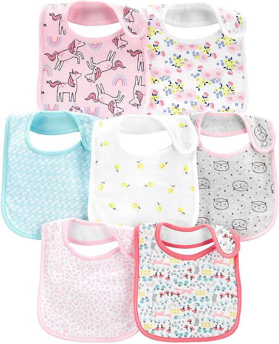 Baby Girls' 7-Pack Teething Bibs