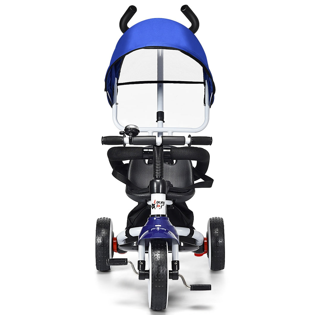Kids' Blue Canopy Easy Steer Stroller Push Trike