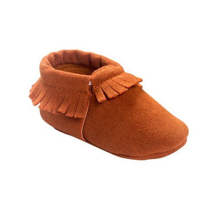Soft Sole Coral Velvet Baby Moccasin Shoes