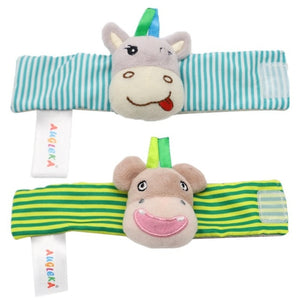 Baby Animals Foot Socks and Wrist Rattle Set