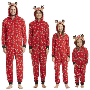 Christmas Hooded Deer Romper Family Matching Jumpsuits