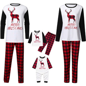 Christmas Elk Round Neck Family Two-piece Pajamas