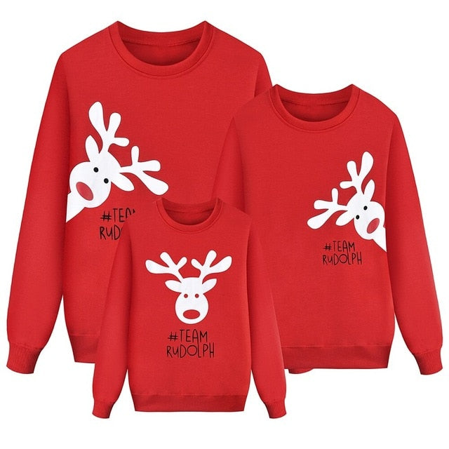 Christmas Elk Print Family Matching Sweater