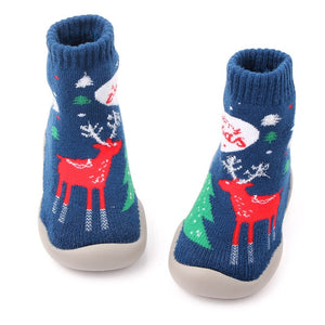 Christmas Children Rubber Soles Shoes Socks