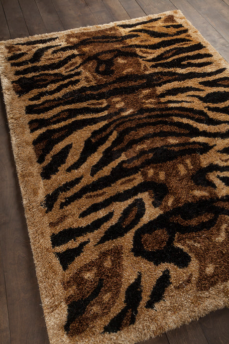 Chandra Amazon AMA-5603 Gold/Brown/Black Tiger Print Hand Woven - HomeAreaRugs.com