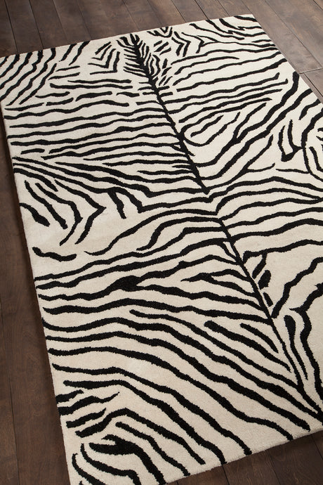 Chandra Rugs Antara Black/White Zebra Print Hand Tufted Wool - HomeAreaRugs.com