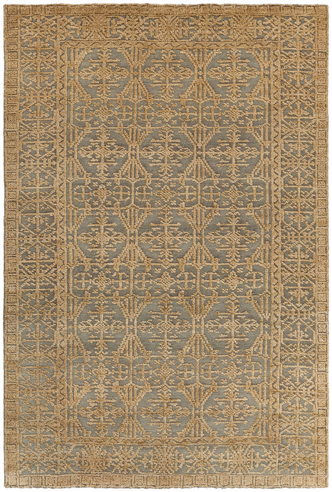 Chandra Rugs ASHTON Gold/Green Hand Knotted Wool - HomeAreaRugs.com