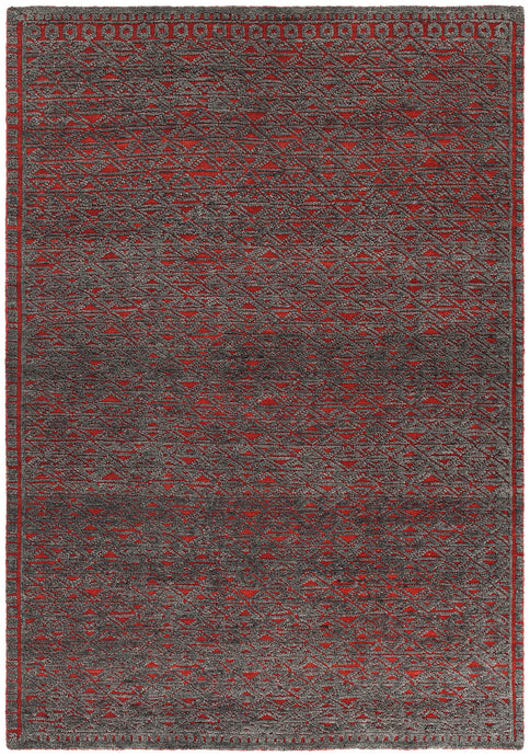 Chandra Rugs ASHTON Red/Grey Hand Knotted Wool - HomeAreaRugs.com