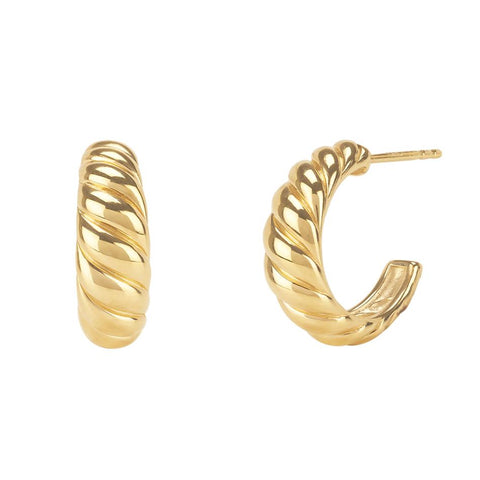 Twisted Dome Stud Hoop Earrings