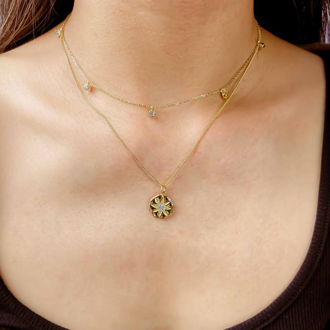 Stackable Necklaces Set: Dainty Dangle Necklace & Sunflower Pendant Necklace, Kategory Jewelry