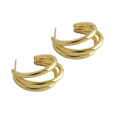 Triple Tubes Hoop Earrings