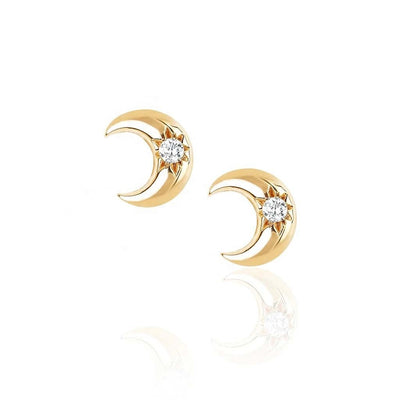 Starburst Moon Stud Earrings - Kategory Jewelry