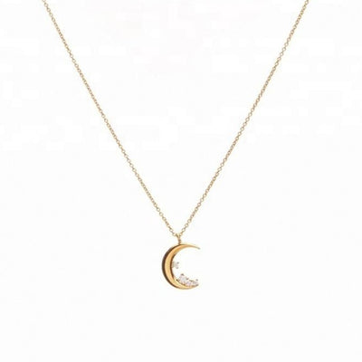 Triple Stars Moon Pendant Necklace - Kategory Jewelry