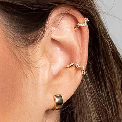 Heartbeat Ear Cuffs (Two Pieces) - Kategory Jewelry