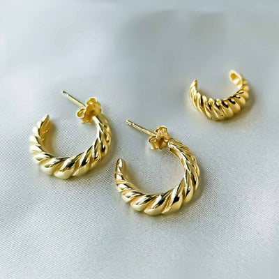 Stackable Earrings Set: Twisted Dome Hoop Earrings & Twisted Dome Ear Cuff (1 piece) - Kategory Jewelry