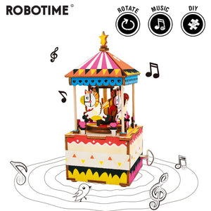 Robotime DIY Merry-go-round 3D Wooden Puzzle Game Assembly Rotatable Music Box Toy Gift for Children Adult AM304