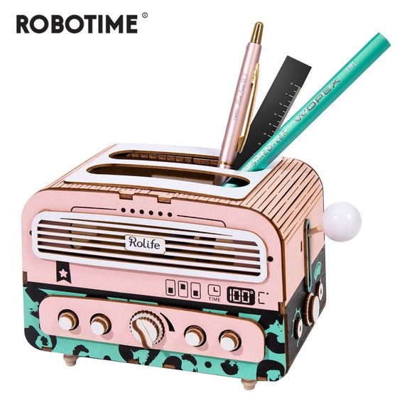 Robotime New Arrival DIY Toaster 3D Wooden Puzzle Game Gift&Penholder for Children Friend Popular Toy TG14