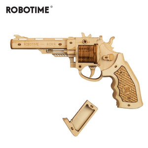 102pcs DIY 3D Revolver with Rubber Band Bullet  Wooden Gun Puzzle Game Popular Toy Gift for Children Adult LQ401