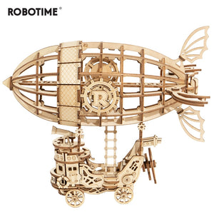 176pcs DIY 3D Wooden Airship Puzzle Game Popular Toy Gift for Children Friend TG407