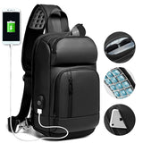 2020 New Black Chest Packs Men USB Charging Casual Shoulder Crossbody Bags Water Repellent Travel Messenger Bag Male n1820