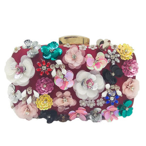 Socialite Women Flower Evening Bags Wedding Party Bridal Beaded Purse Crystal Clutch Handbag