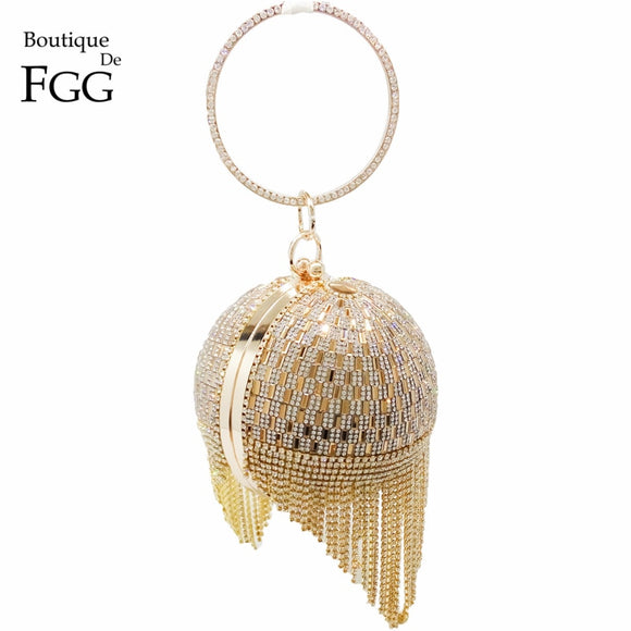 Tassel Women Party Metal Crystal Clutches Evening Bags Wedding Bag Bridal Shoulder Handbag Wristlets Clutch Purse