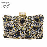 Vintage Women Black Beaded Evening Clutch Bags Ladies Box Metal Clutches Wedding Cocktail Party Handbags Purses