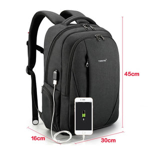 USB Waterproof Anti Theft Backpacks for Men 15.6 inch Laptop Male Travel Bags