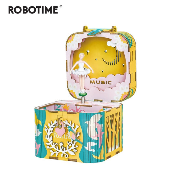 DIY 3D Rotatable Dancing Ballerma Wooden Puzzle Game Assembly Music Box Toy Gift for Children Kids Adult AMD52