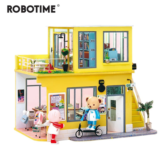 2019 New Arrival Luxury DIY House with Bear&Furniture Children Adult Miniature Wooden Doll House Model Kit Dollhouse TD