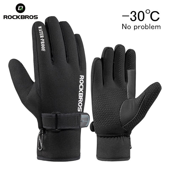 RockBros Winter Windproof Cycling Gloves Fleece Keep Warm Bicycle Glove Ultra-thick Silica Gel Anti-slip Anti-shock Bike Gloves