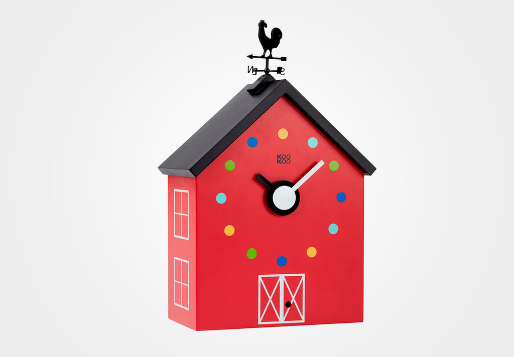 KOOKOO RedBarn, farm house clock including 12 farm animals and a rooster
