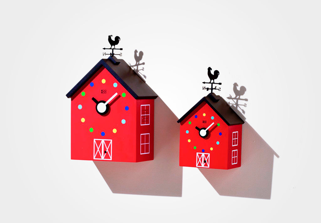 KOOKOO RedBarn farm house clock made of MDF wood, striking design, including 12 farm animals and a rooster, animal voices kids present as of 6 years