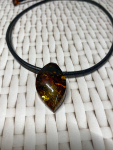 Amber necklace and pendant on leather - necklace