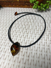 Load image into Gallery viewer, Amber necklace and pendant on leather - necklace