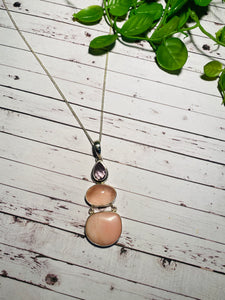 Amethyst, Rose Quartz and Pink Opalite Stirling silver pendant - necklace