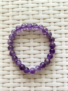 Amethyst bead bracelet - warm purple colour