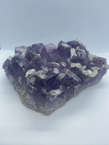 Amethyst Crystal Candle Holder with small Calcite Crystals, home décor