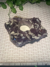 Load image into Gallery viewer, Amethyst Crystal Candle Holder with small Calcite Crystals, home décor