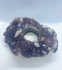 Amethyst Crystal tea light candle holder with small Calcite Crystals - home décor
