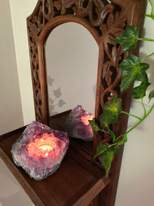 Amethyst Crystal Candle Holder, home décor