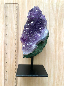 Natural Amethyst Crystal on black display stand -  home décor or unique table piece