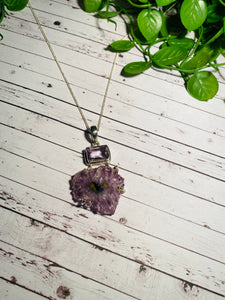Amethyst pendant set in sterling silver - necklace