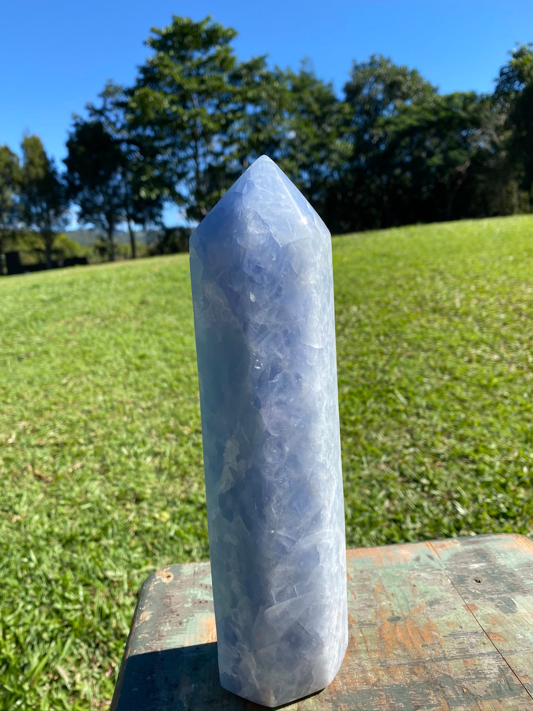 Blue Calcite natural stone tower -  home décor or unique bedroom display