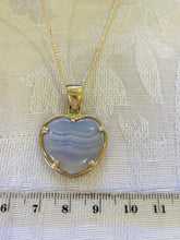 Load image into Gallery viewer, Blue Lace Agate heart shaped Stirling silver pendant - jewellery
