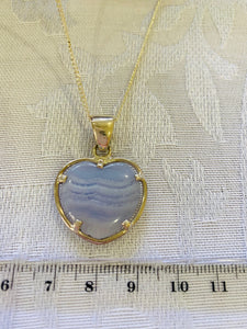 Blue Lace Agate heart shaped Stirling silver pendant - jewellery